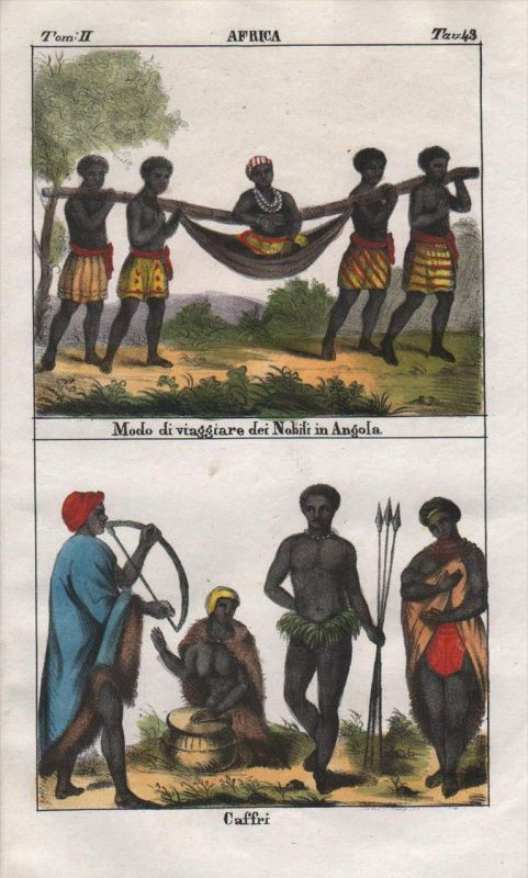 - Angola Kaffir South Africa people costume Lithograph Negro natives
