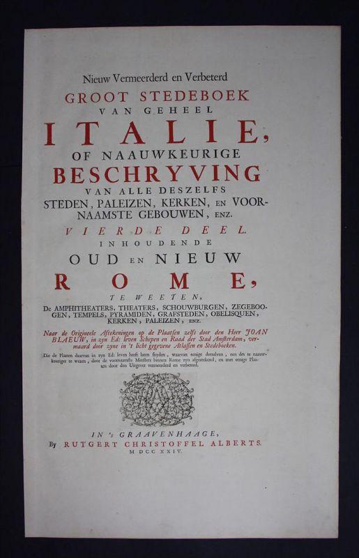Titelblatt Titel title Roma Rome Rom acquaforte Kupferstich Mortier Blaeu