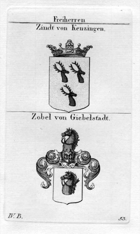 Zindt Zobel - Wappen Adel coat of arms heraldry Heraldik Kupferstich