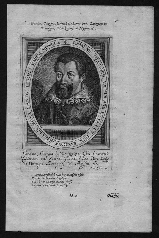 Johann Georg I Sachsen Kurfürst Dresden Portrait Kupferstich engraving