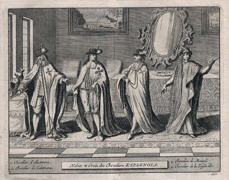 Espana Spain Spanien costumes Trachten Kupferstich grabado engraving