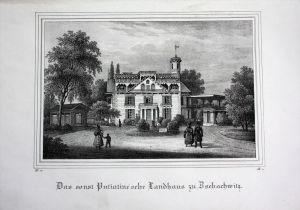 Zschachwitz Dresden putiatinische Landhaus Besucher Sachsen Lithographie