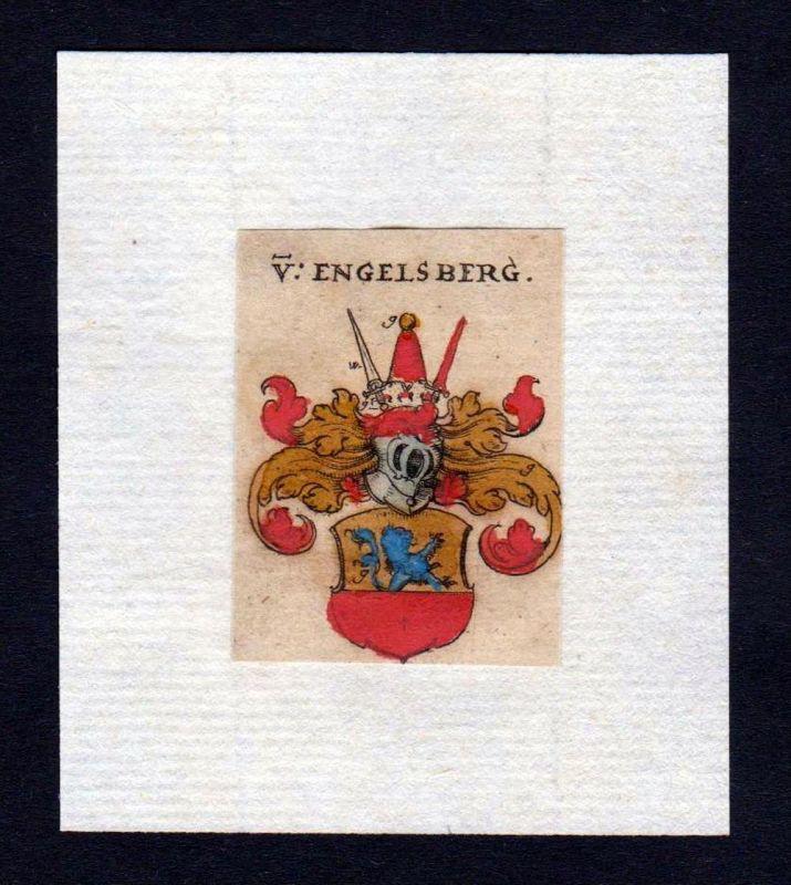 17. Jh von Engelsberg Wappen coat of arms heraldry Heraldik Kupferstich