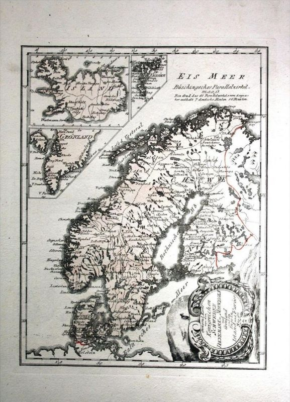 Scandinavia Norway Sweden Finland Denmark Kupferstich Reilly Karte map