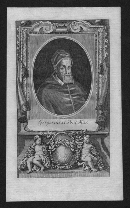 Gregor XV Alessandro Ludovisi Papst pope papa Kupferstich Portrait