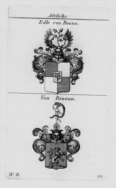 Braun Braunn Wappen Adel coat of arms heraldry Heraldik crest Kupferstich