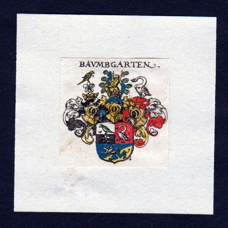 17. Jh Baumgarten Wappen Adel coat of arms heraldry Heraldik Kupferstich