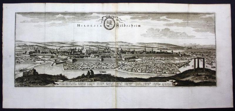 Hildesheim - Gesamtansicht / Panorama - Karte Kupferstich Merian