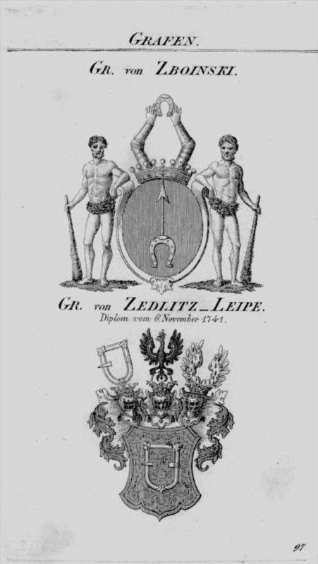 Zboinski Zedlitz Leipe Wappen coat of arms heraldry Heraldik Kupferstich
