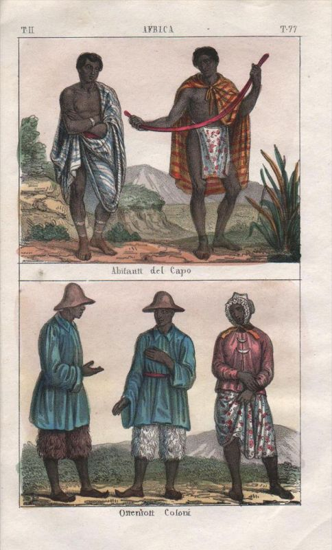 - South Africa Cape of Good Hope people costume Lithograph Negro