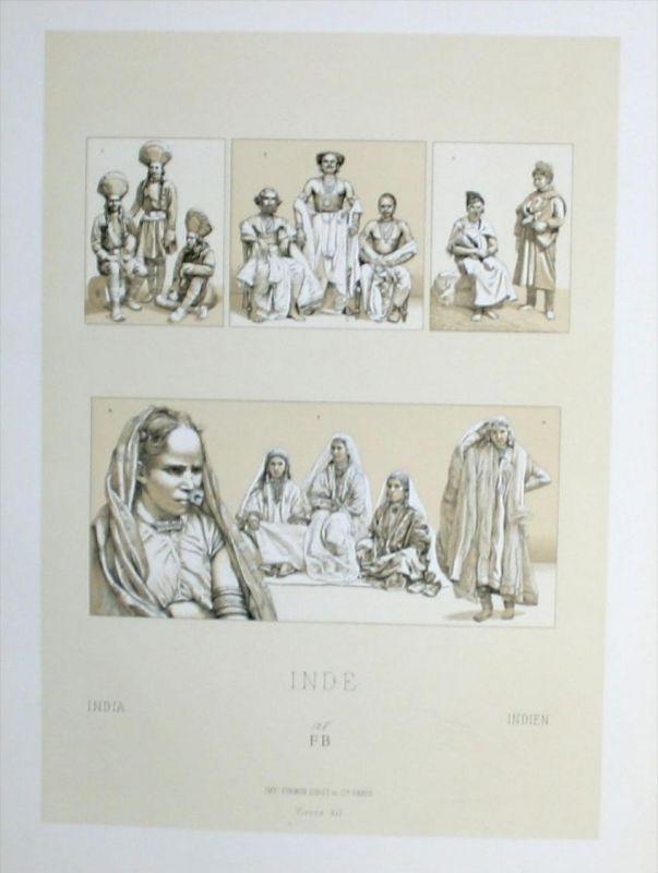 Aboriginies Einwohner costumes Tracht Indien India Lithographie lithograph