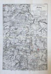 Freiberg Schlacht 1762 Militär-Karte