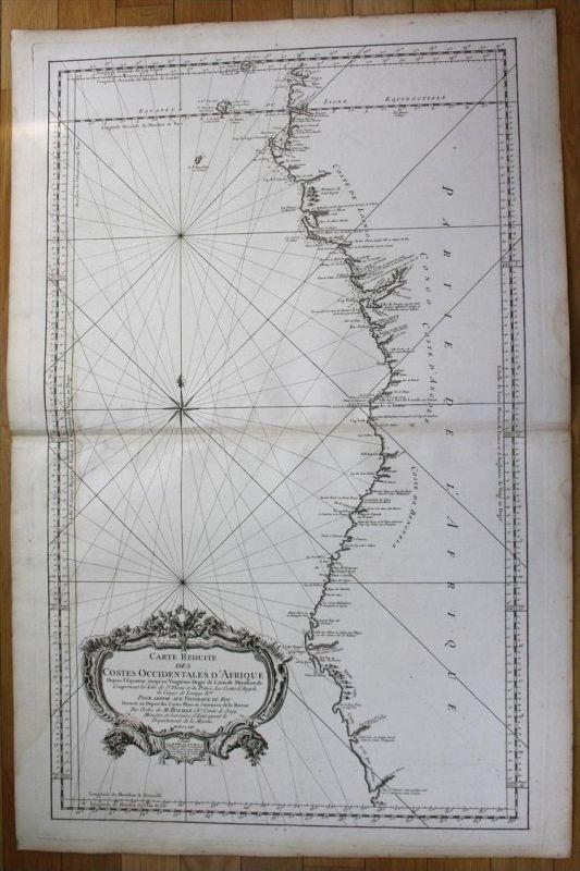 Western Africa Guinea Angola Congo Bengal nautical sea chart map Bellin
