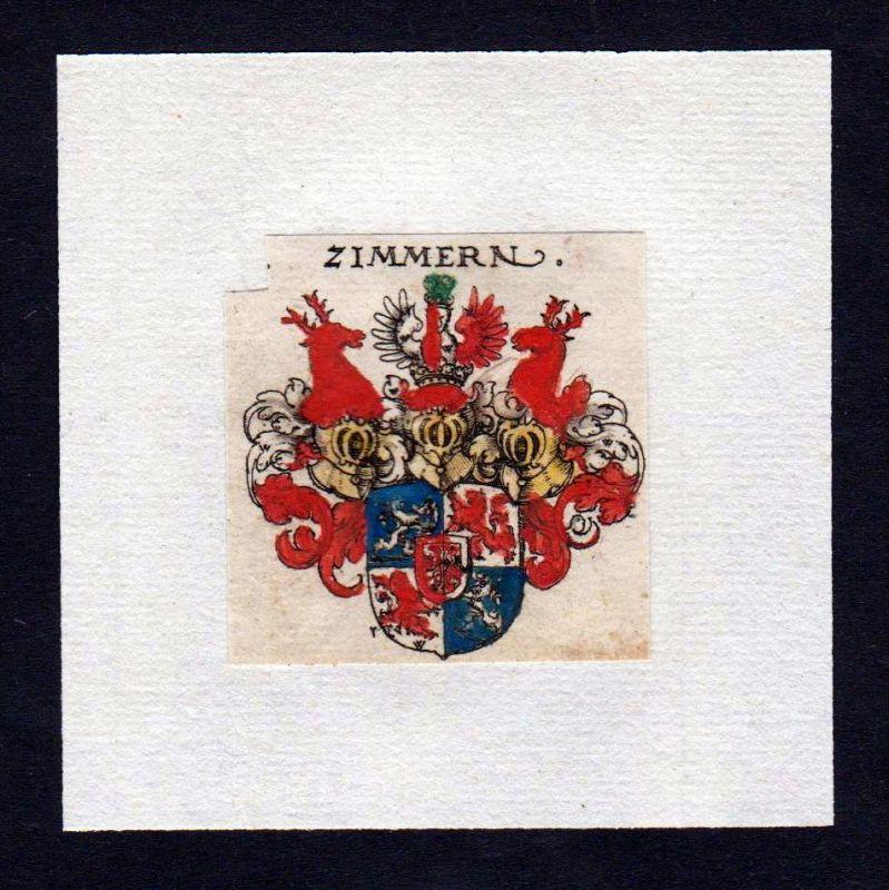 17. Jh Zimmern Wappen Adel coat of arms heraldry Heraldik Kupferstich