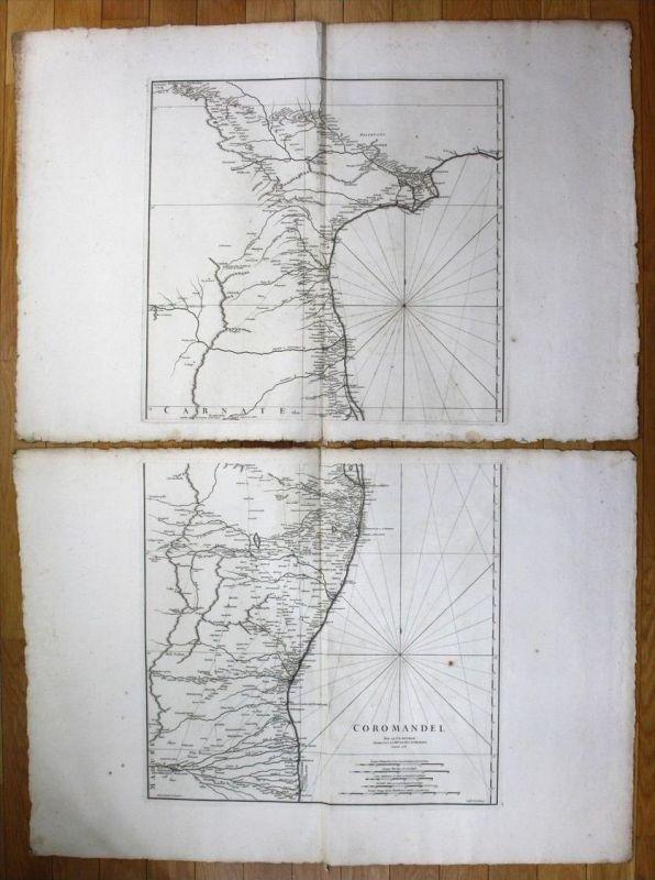 India Coromandel Coast east sea chart wall map Anville Indien Asia