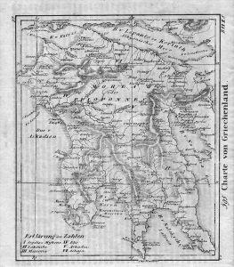 Greece Griechenland map Karte Lithographie