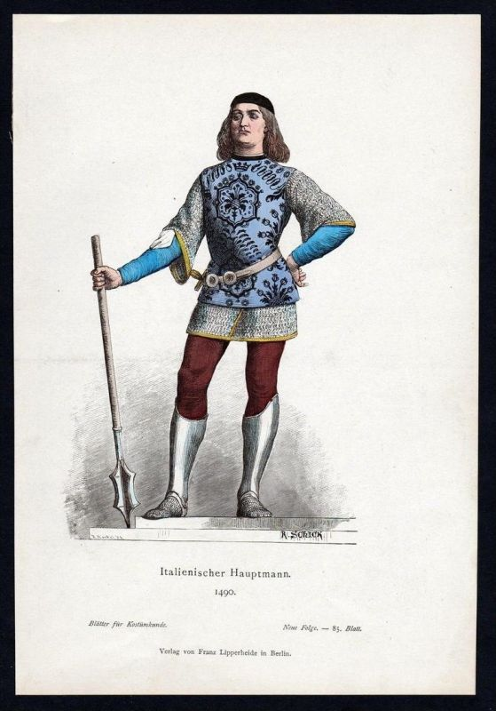 Italien Hauptmann Soldat 1490 Trachten Tracht costume original Grafik