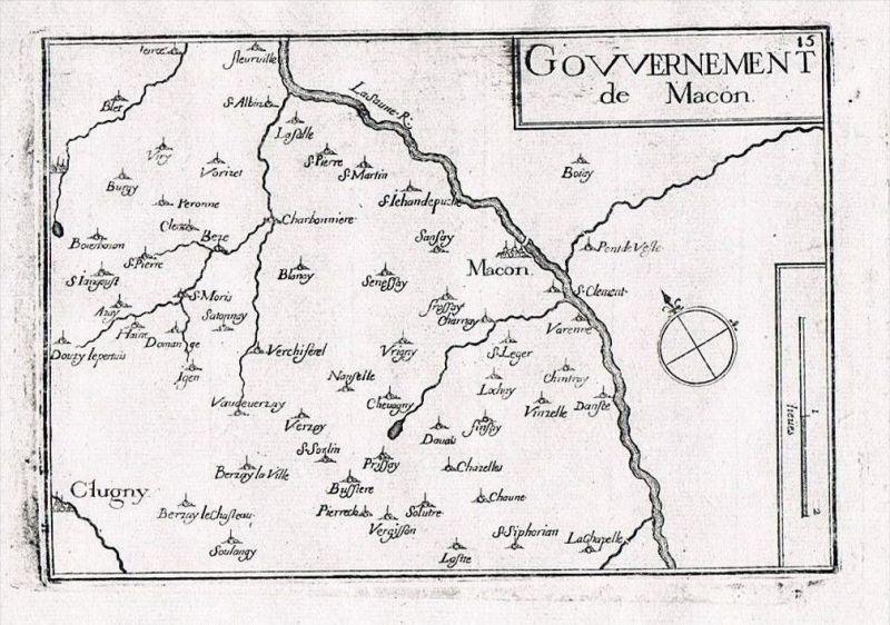 Macon Saone-et-Loire Burgund Bourgogne France gravure Kupferstich Tassin