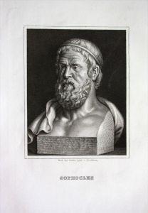 Sophokles Dichter poet Griechenland Greece Original Stahlstich Portrait