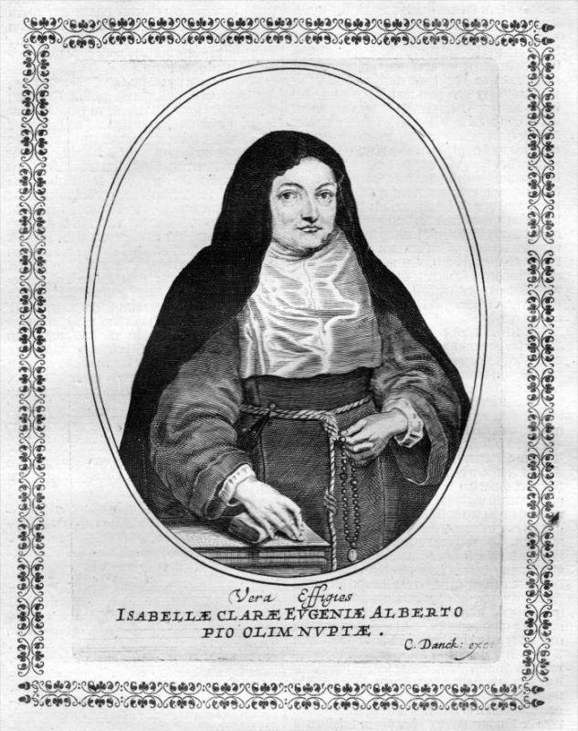 Isabella Clara Eugenia von Spanien - Stadthalterin (1566 - 1633) Kupferstich Portrait