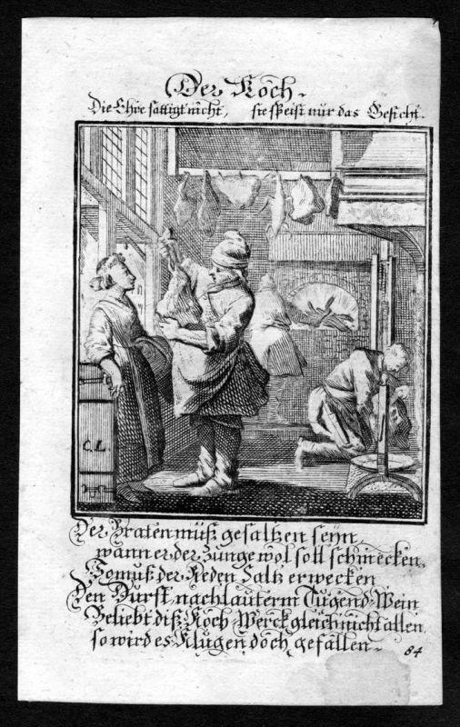 Koch cook kochen cooking Beruf profession Weigel Kupferstich antique print