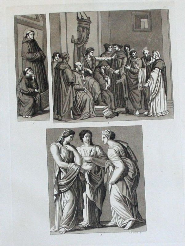 Raffael Giotto di Bondone Masaccio Aquatinta aquatint acquaforte