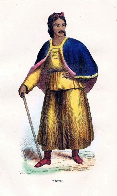 China Asia Asien uniform Trachten Holzstich costumes antique print