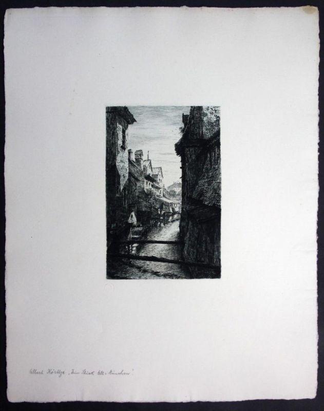 Albert Körttge München Radierung signiert etching Munich