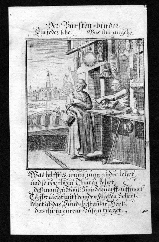 Bürstenbinder brush Bürste Beruf profession Weigel Kupferstich antique print
