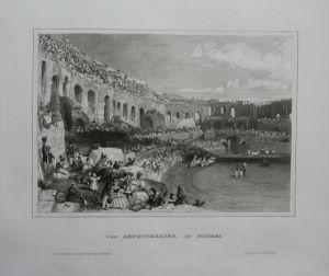 Amphitheater von Nimes Frankreich France engraving gravure Stahlstich