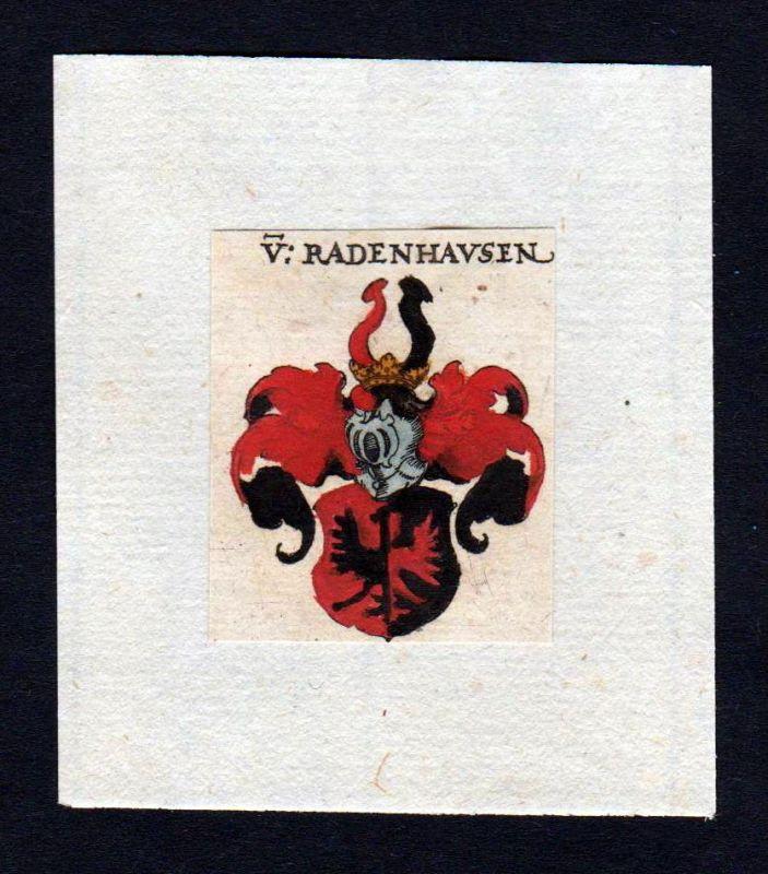 Radenhausen 17. Jh Wappen coat of arms heraldry Heraldik Kupferstich