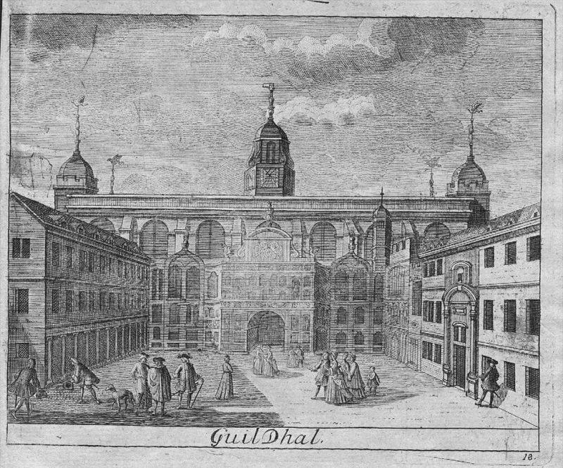 Guildhall City London - engraving Kupferstich
