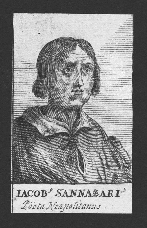 Jacobus Sannazarius Dichter poet Neapel Napoli Italy Kupferstich Portrait