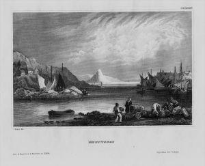 Mounts Bay Baya an Garrek Bucht Cornwall England engraving Stahlstich