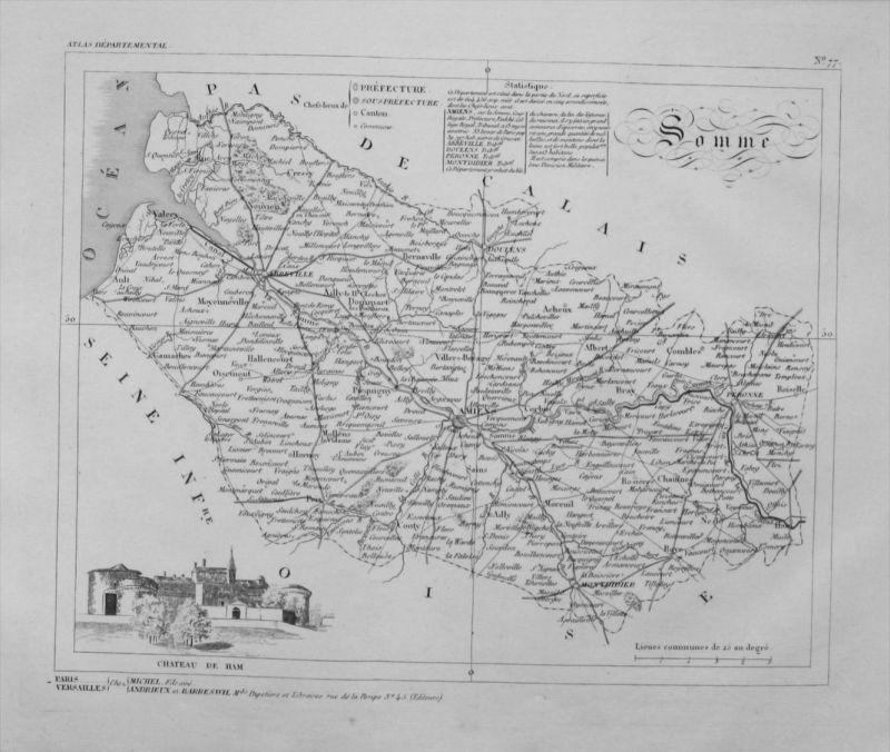 Departement Somme carte gravure Kupferstich Karte map France Frankreich