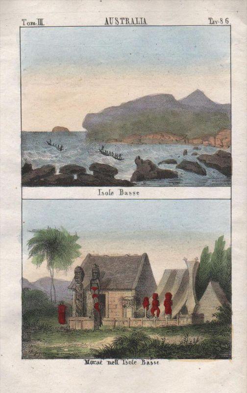French Polynesia Oceania Pacific Ocean litho Lithograph antique natives