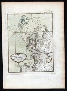 Guadeloupe Lesser Antilles Pointe a Pitre Bellin handcolored antique map
