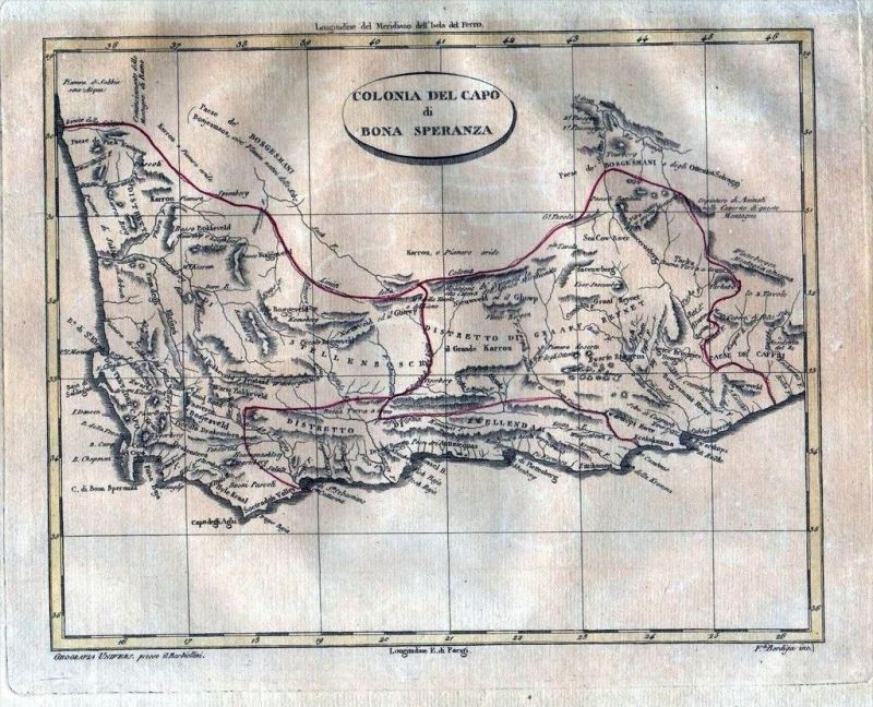 Cape Province South Africa Good Hope Barbiellini Kupferstich engraving