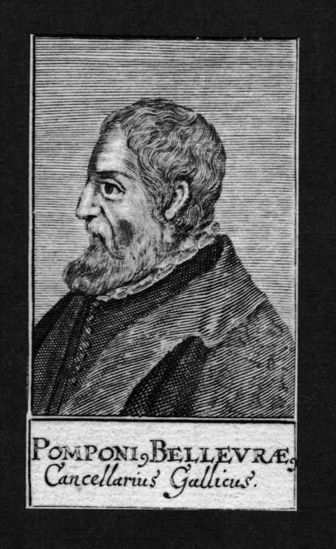 Pomponi Bellevrae Jurist lawyer Kanzler Italien Kupferstich Portrait
