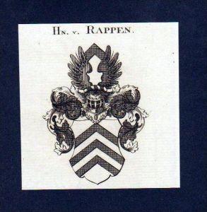 Herren von Rappen Original Kupferstich Wappen engraving Heraldik crest