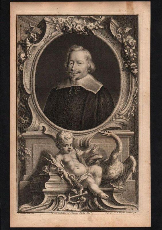 John Pym English parliamentarian Politiker engraving Kupferstich Portrait