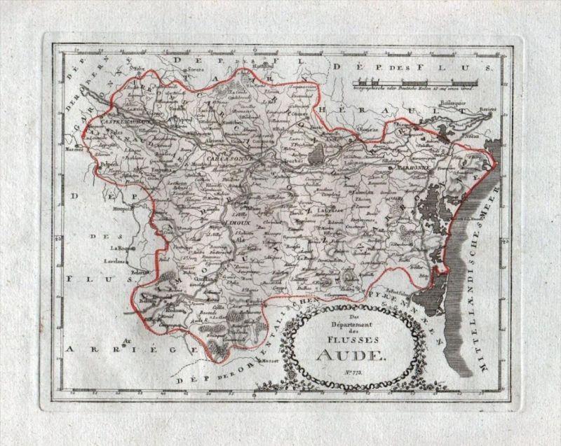 Das Departement des Flusses Aude Nr. 773 - Aude Narbonne Carcassonne Bram Limoux Quillan - carte gravure map Karte engra