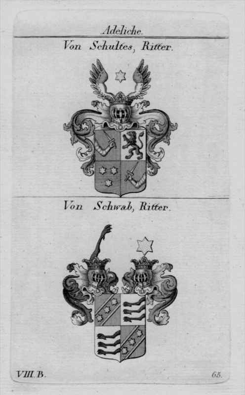 Von Schultes Schwab Wappen Adel coat of arms heraldry crest Kupferstich