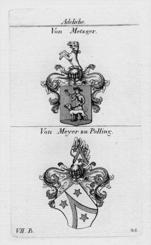 Metzger Meyer Polling Wappen coat of arms heraldry Heraldik Kupferstich