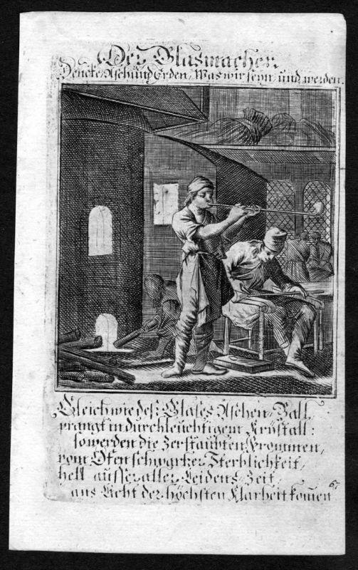 Glasbläser glass blower Glas Beruf profession Weigel Kupferstich antique print