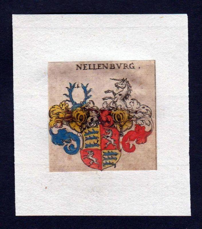 17. Jh Nellenburg Wappen coat of arms heraldry Heraldik Kupferstich