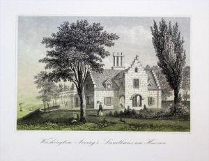 Washington Irving Landhaus Hudson Amerika America Original Lithographie