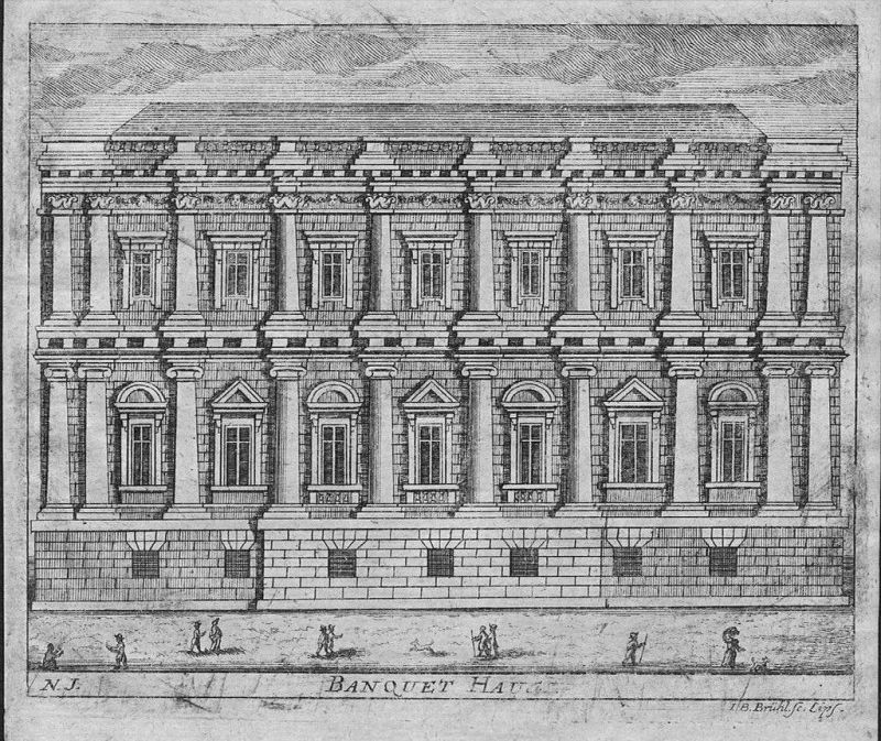 Banqueting House whitehall London - Kupferstich engraving