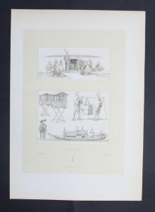 Japan Nippon Boot boat Sänfte Transport Asia Lithographie lithograph
