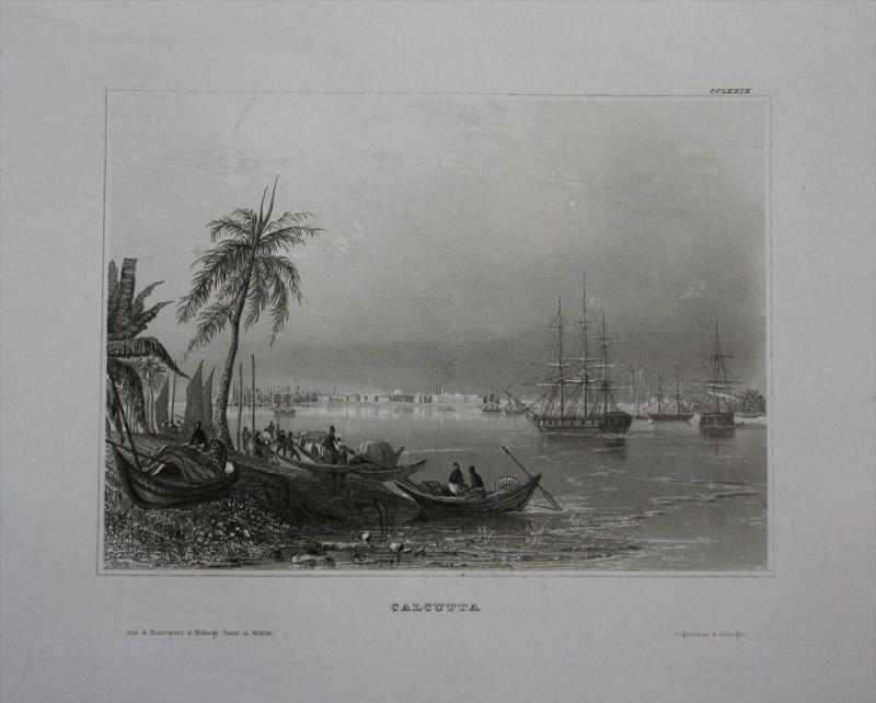 Kalkutta Kolkata Indien India Asien Asia engraving Stahlstich